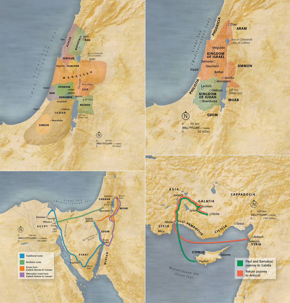 Bible Maps - A selection of reference maps depicting bible lands and stories from the bible.