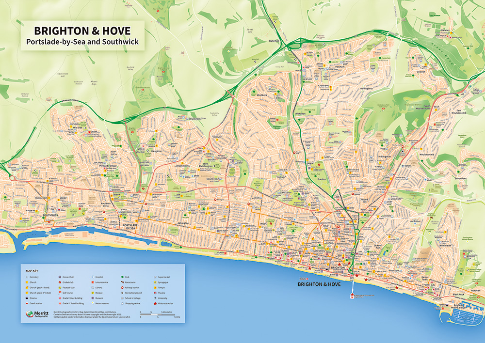 Brighton & Hove - A map of Brighton, customised to show specific points of interest.