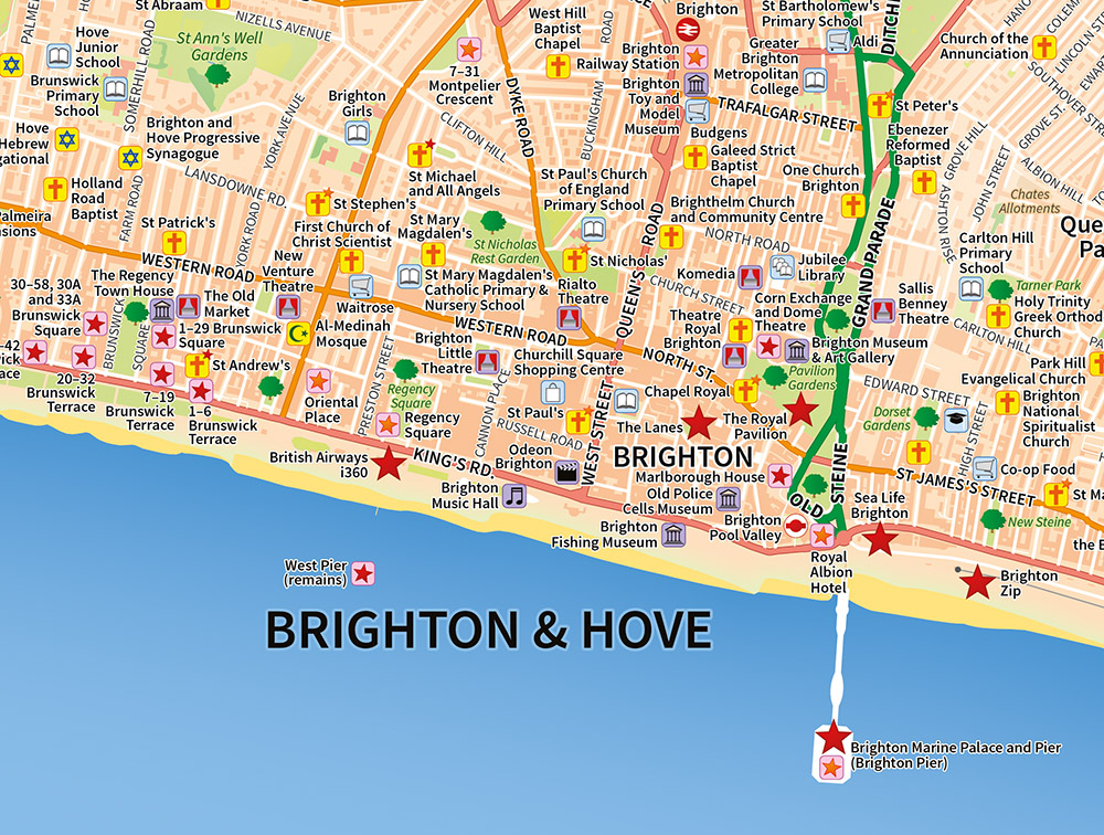A map of Brighton & Hove, customised to show specific points of interest.