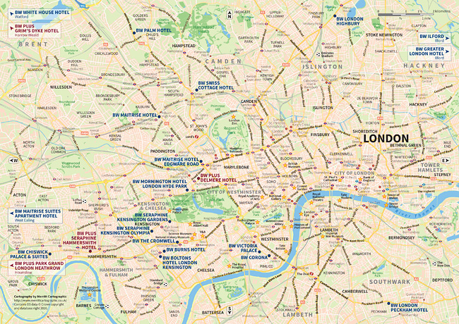 A map highlighting the location of the Best Western® hotels in Central London.