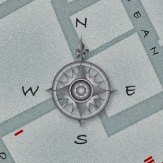 A closer look at the compass rose used on the map.