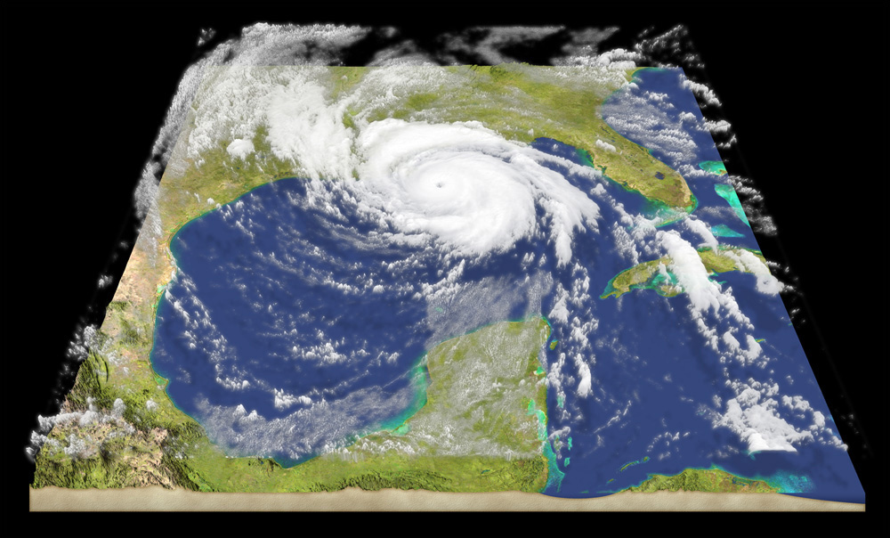 Hurricane Illustration - A simulated three-dimensional model depicting the view of a hurricane over the Gulf of Mexico