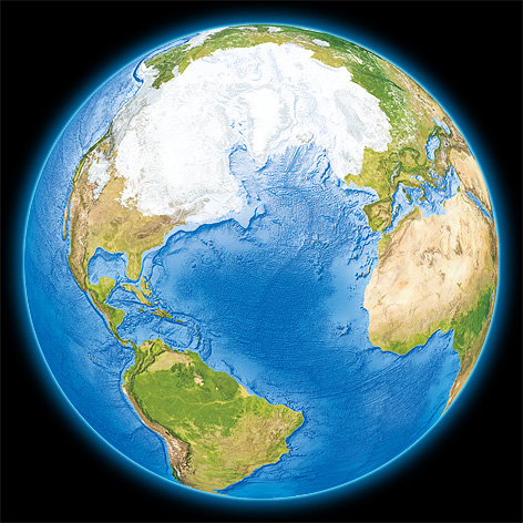 An illustation showing an impression of the Earth at the time of the last ice age (the last glacial maximum).