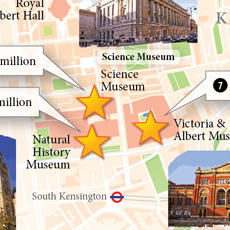 A close-up view of the museums of South Kensington.