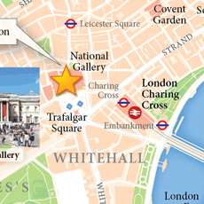 A better look at the region of the map surrounding Trafalgar Square.