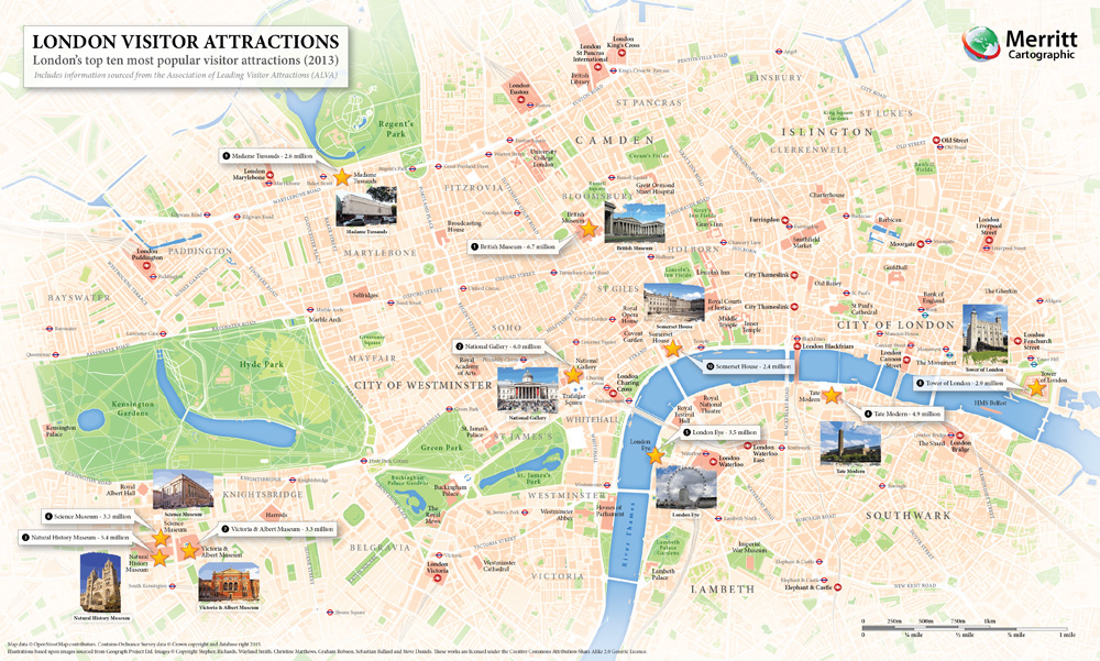 London Visitor Attractions - A map highlighting London's most popular visitor attractions.