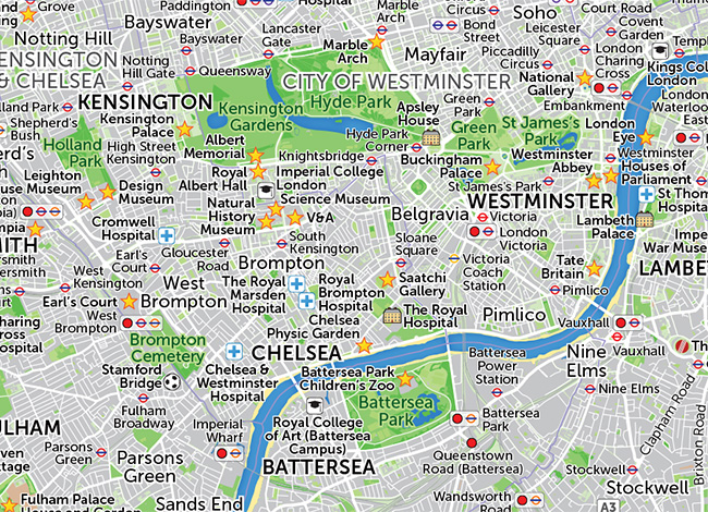 A map of Greater London, customised to show specific points of interest.