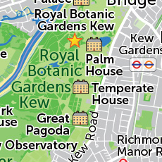 A better look at the region of the map surrounding Kew Gardens.