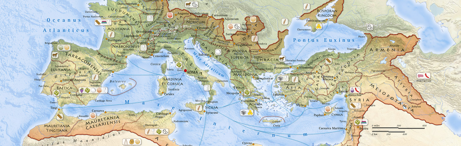 A map of the Roman Empire under Hadrian at around A.D. 117