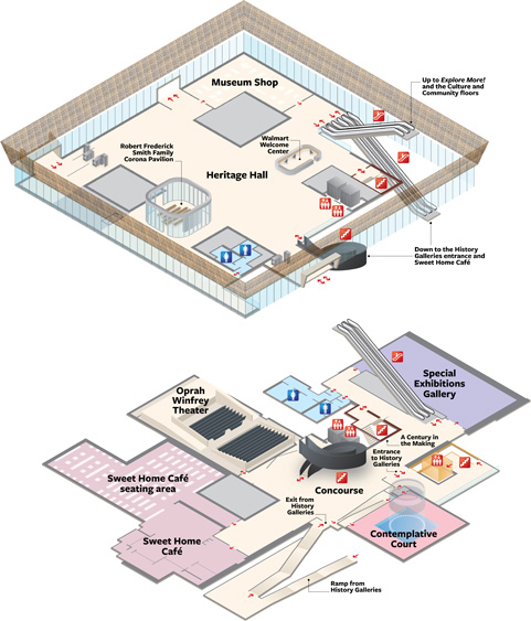 Smithsonian National Museum of African American History & Culture floor plans produced by Merritt Cartographic.