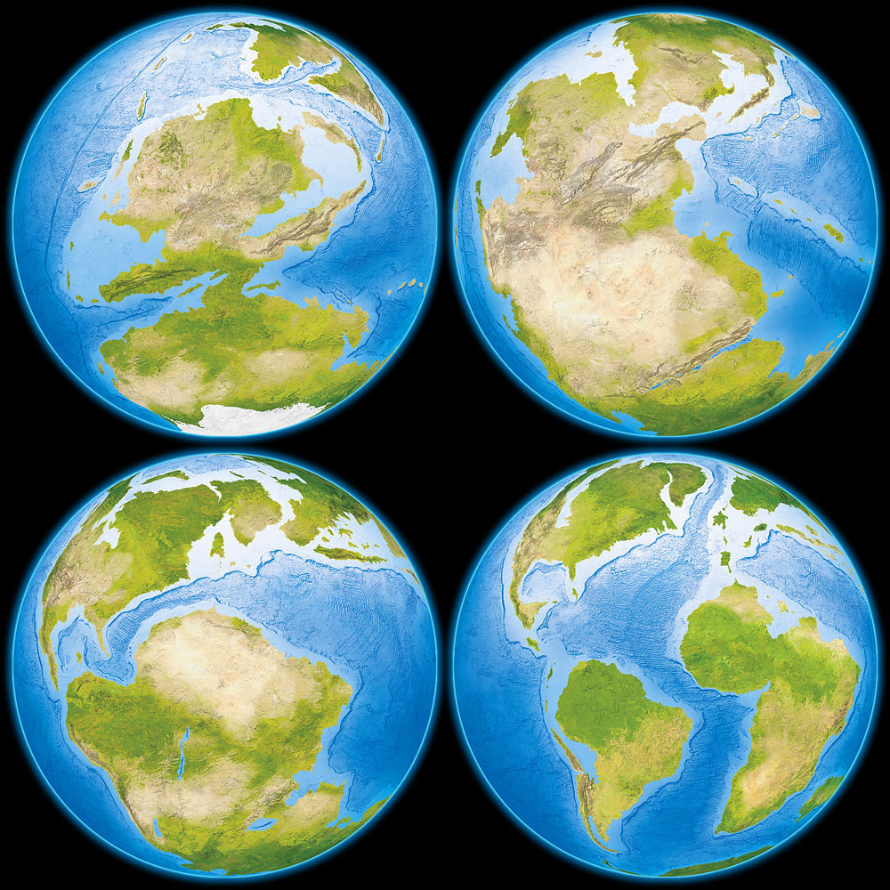 Prehistoric Globes - Illustrations showing the Earth during the Carboniferous, Triassic, Jurassic and Cretaceous periods