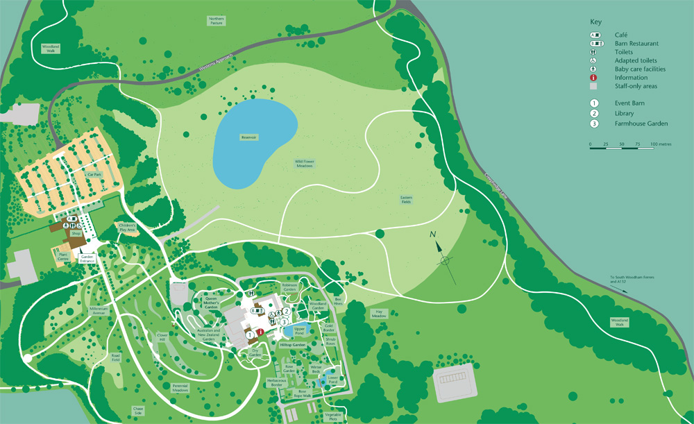 RHS Garden Hyde Hall Map - An illustrative plan of a garden open to the public, RHS Garden Hyde Hall