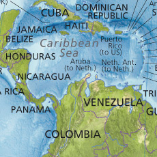 A close-up view of a section of Central America and the Caribbean.
