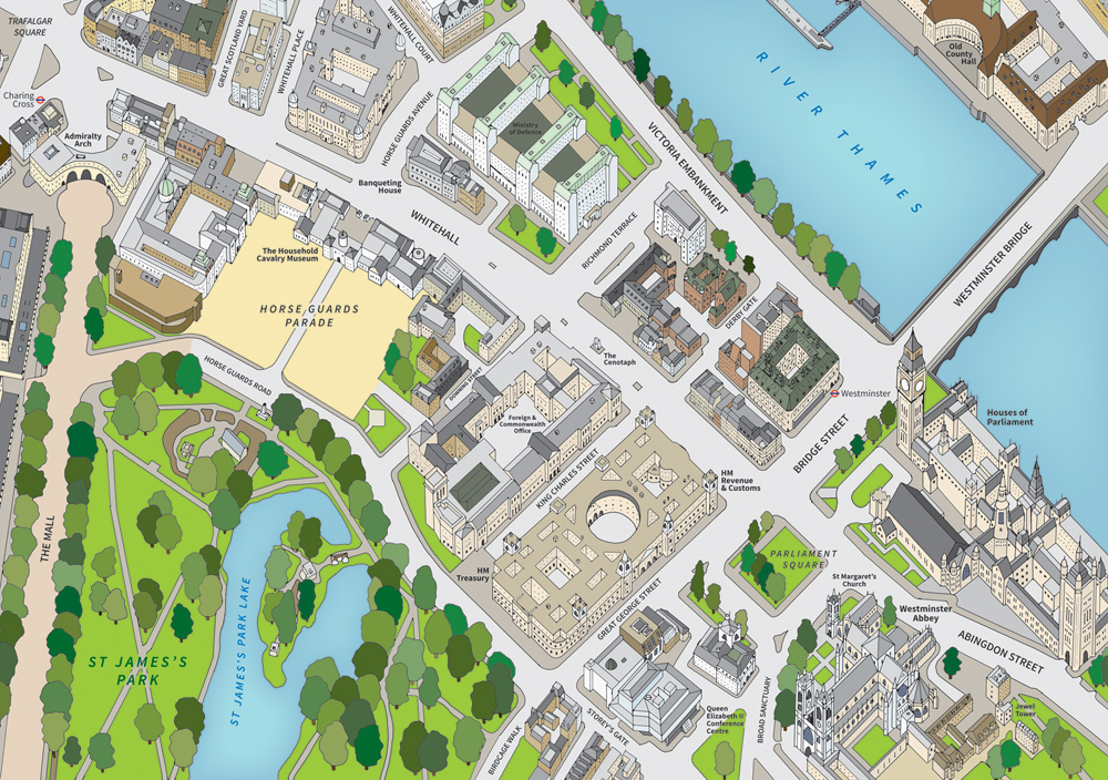 A hand-drawn, digitally coloured, three dimensional map illustration of central Westminster.
